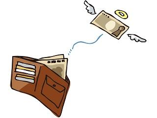 金欠で財布からお金が飛んでいく